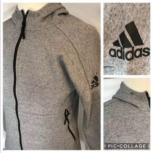 Adidas Size S Full-Zip Hoodie Light Gray Heather